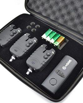 1+ 3Pêche à la carpe Ensemble Bite alarme sans fil LED avec volume réglable contrôle du son dans un étui à fermeture éclair