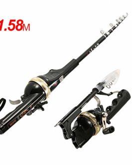133 / 158cm télescopique Mini Canne à pêche en Fibre de Verre Pole Pliant Combo Reel Lure Pêche Spinning Rod Poisson Tackle Set Paix Ligne