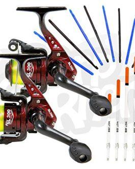 2 x LINEAEFFE SL300 1BB SPIN / FLOTTEUR moulinets de pêche + 8 x Dégorgeoir pêche pour ôter Hameçon & mélange de 5 X CRISTAL WAGGLER bouchon