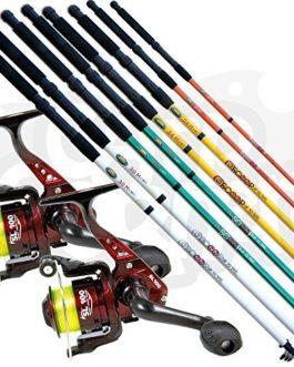 2 x NOUVEAU LINEAFFE télescopique Gros + pêche en mer voyage tiges & 2 x SL30 1BB rouleaux + pre-spooled avec ligne disponible en 6 7 8 & 10FT (Choisissez votre propre)