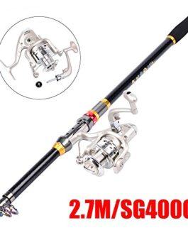 2.1 / 2.4 / 2.7m canne à pêche de haute qualité télescopique canne à pêche en eau douce d'eau salée et moulinet Combos Kits
