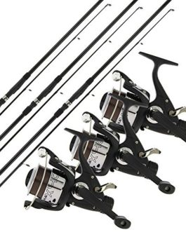 2/3 x NGT carpe Max 12FT 2 PIÈCES TIGES + 2/3 x MAX40 2BB RUNNER moulinet + 10LB fil