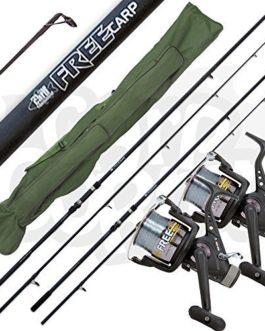 Lineaeffe 2x Gratuit Carpe 1.3kg Test Courbe 12ft/3.6m 2 Pièces Pêche Tiges + 2 X 3BB Rouleaux & Fourre-Tout