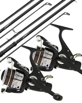 2x Carpe Seeker Pêche Tiges + 2x Max 40 2BB Rouleaux + 2x VX1 Alarme + Session Tige Pied + Quickfish Tapis + 4pc Tools & Bouillettes