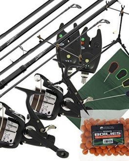 2x Carpe Seeker Pêche Tiges + 2x Max 40 2BB Rouleaux + 2x VX1 Alarme + Session Tige Pied + Quickfish Tapis + 4pc Tools & Bouillettes