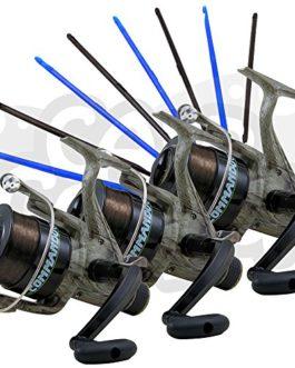 3X Lineaeffe Commando 401BB Camo Moulinet pour pêche à la carpe Specimen Moulinet de pêche Pré-chargé avec la carpe Line + 8PC Dégorgeoirs Lot