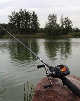 WMAOT Canne à Pêche en FRP Creux Ultra-léger 1.8M Canne Pêche 2 Sections Spinning/Casting Line 0.5-3kg Noir