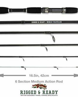 Canne et étui de pêche de haute performance, de poids moyen. Nano-Carbon, 6 multi-sections, 205cm, tige de transport. The World Traveller Rod, par Rigged & Ready TM Travel Fishing.