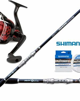 Combo Spinning Kit Canne à pêche Diamond Tele Spin 240cm + Moulinet Mustang 3000+ monofilament Shimano Trout Competition 150MT 0.20
