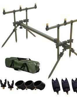 Carpa Pesca Goal Post Pod Rod Con Bank Sticks, Rod Rests e Carry Case