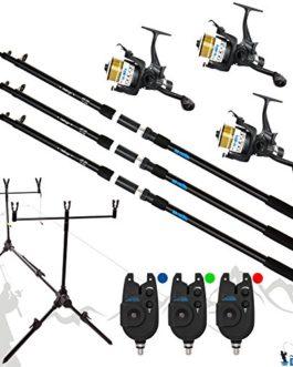 DD-Tackle Kit de pêche complet– 3cannes à carpe de 3,60m, 3moulinets à carpe, 3détecteurs et trépied