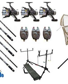 DD-Tackle Lot de 3cannes à carpe assemblées 3,60m/1,3 kg/50-120g avec 3moulinets, 3détecteurs de touche électroniques, 1 rod pod, 1 épuisette
