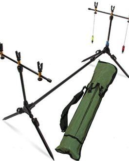Deluxe Suspension stable Ensemble de support de cannes à pêche à la carpe avec indicateurs et repose