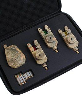 Dr.Fish Camo 3 Mag rouleau sans fil LED pêche morsure d'alarmes Ensemble & récepteur, Batteries, cas, prises jack 2,5 mm lumineux Carp Kit de mouflage