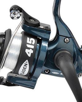 Fladen Power 4-15(1BB–Moulinet à tambour de frein avant) à bobine fixe (Disponible en bleu, noir ou rose)–Idéal pour Junior (Moulinet avec ligne 2,7kg sur)