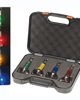 Lot de 4 pièces lumineuses rouge/jaune/vert/bleu pour détecteurs de touche pour la pêche à la carpe – livrées dans une boîte avec prise – Hirisi Tackle®