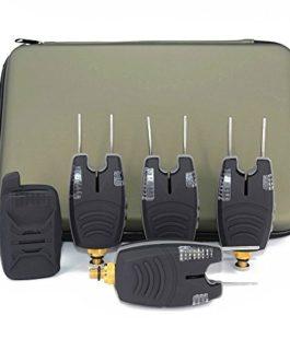 Hirisi Tackle –  Coffret de 4 + 1 détecteurs de touche étanches pour pêche à la carpe avec barres oreilles