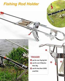KERULA-Pêche Support De Canne à Pêche Support De Canne à Pêche en Acier Inoxydable avec Crochet De Relevage Automatique