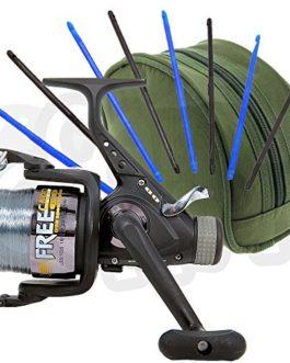 LINEAEFFE GRATUIT carpe 60 3BB carpe RUNNER moulinet de pêche et mallette de transport + 8 pièces Dégorgeoir pêche pour ôter Hameçon ensemble