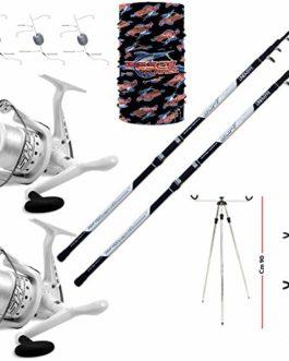 Linea-effe Kit Surfcasting composé de : 2 Cannes Long Cast 2 moulinets 6000 1 trépied Porte-Cannes 1 kit 3 Montures 1 pièce Bandana