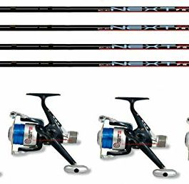 Linea-effe Kit de pêche 4 pièces Canne Bolognaise 4 m Next + 4 pièces Moulinet Vigor HG Shiver 30