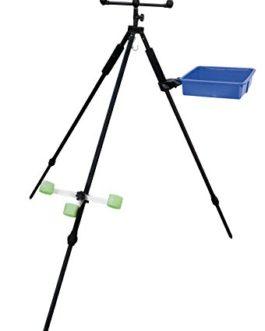 Lineaeffe – Trépied télescopique en aluminium pour 3cannes à pêche avec panier