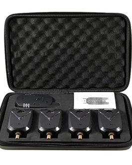 Lixada Fishing Bite Alarmes Set Pêche Récepteur sans Fil Numérique Pêche Alerte Alerte Sonore Kit LED Alarme Indicateur avec Portable Cas