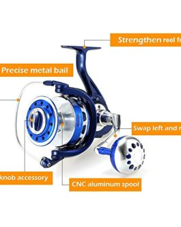 Lixada Roulement à Billes de 12 + 1BB 4.7: 1 modèles 8000 Moulinet de Pêche Interchangeable Droit/Gauche de Bobine en métal pour l'eau salée d'eau douce