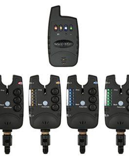 Lixada Wireless Fishing Bite Alarme Set 1 récepteur Plus 4 alarmes pour la pêche