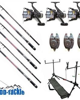 Lot de 3 cannes à pêche à la carpe – 3,60 m – 1,25 kg – 40 à 90 g – 3 moulinets – 3 détecteurs de touches électroniques Rod Pod