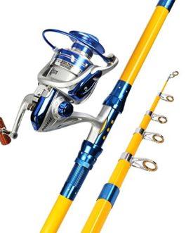 Miao Canne à pêche, Long, prise de vue en carbone de canne à pêche Mer de roue en métal