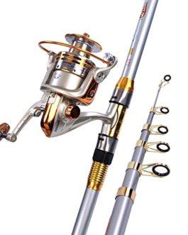 Miao Canne à pêche, Super rigide Carbone en métal Pêche de roue Ensemble tringle à la mer