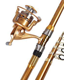 Miao Canne à pêche, Super rigide Long Shot Carbone Mer Pôle de pêche Gear Combinaison
