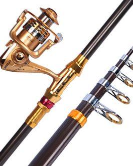Miao Canne à pêche, carbone en métal Pêche de roue Couvre-lit Pole Mer Ensemble tringle