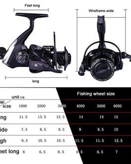 Moulinet Pêche iRegro Bobines de filature 5.1:1 Rapport de démultiplication 12+1 Roulements à billes Gauche / droite Interchangeable pliante poignée Spinning Reel pêche