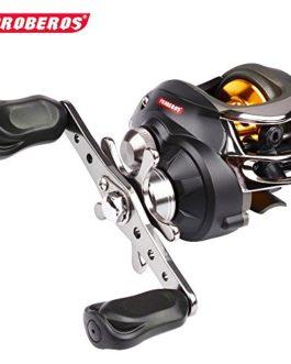 PRO BEROS Bobine de pêche de qualité supérieure de 1PC Rouleau de lèvre couleur noir 10 roulements à billes 300g Rigote de vitesse de roue de goutte d'eau droite et gauche: 6.3: 1