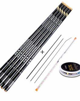 Pêche télescopique en Fibre de Carbone Rod tiges Carpe 3.0-7.2M Flux Pole Main + Top Conseils supplémentaires + Flotteur de pêche Set Rig