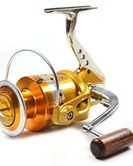 Supertrip TM Moulinet de pêche en métal Gauche/Droit interchangeable Manivelle en bois Roulement à billes 12+1BB Haute vitesse 5.1:1 Frein de haute Precision Fonctionnement silencieux