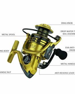 Xmiral Moulinet de pêche 14bb bobines Full Metal Spinning Reel coulée Fishing Reels Wheel