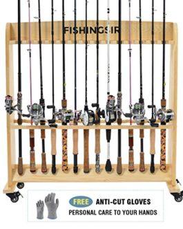 en bois Canne à pêche Rack avec roues, jusqu'à 28Pole et moulinet support Portable vertical Large Rolling Tige de chariot de stockage