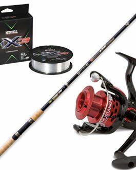 linea-effe Kit telespin Canne à pêche mer lac 240cm 30–60GR + Vigor munstang + Bobine Moulinet Mitchell MX3UltraClear monofilament 150MT 0.20