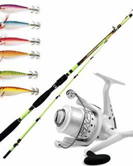 linea-effe Super Kit Squid Globe Fishing EGING Capture Canne 210m 100g + sK74000FD Moulinet + Kit 6totanare Diki Diki