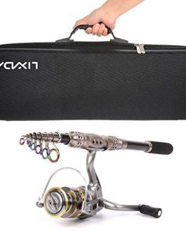 Canne à pêche télescopique Lixada – Avec attirail de pêche, 1 moulinet de pêche, 1 sac pour poisson