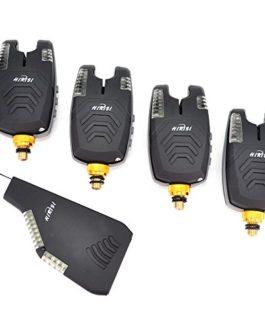Lot d'alarmes de pêche Hirisi Tackle® – Étanche, sans fil – Avec ensemble de bandes LED – Étui de protection